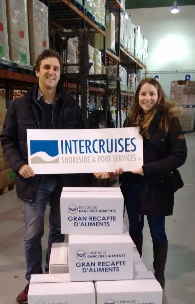 Mireia  and Matteo presenting Intercruises' donation