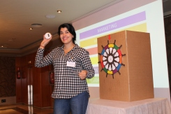 Gilda Fatigante, Account Manager Barcelona, participating in the team quiz!